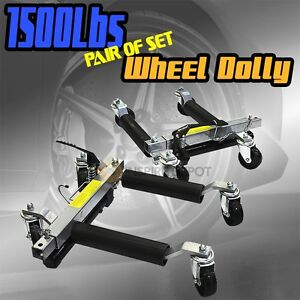2pc 1500lbs Car Dolly Hydraulic Lift Jack Air Roller Vehicle Positioning Tow 12