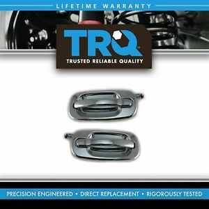 Rear Chrome Exterior Door Handle Set Pair For Chevy Gmc Cadillac Pickup Truck
