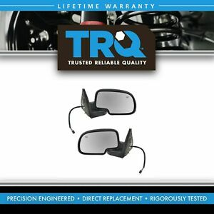 Trq Side View Mirrors Power Heated W puddle Gloss Black Lh rh Pair For Chevy Gmc