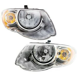 Headlight Set For 2005 2006 2007 Chrysler Town Country Left And Right 2pc