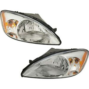 Headlight Set For 2000 2007 Ford Taurus Left And Right Chrome Housing 2pc