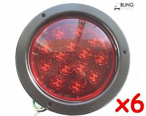 6 Red 5 Bright Round Flush Mount Led Stop Turn Light Truck Trailer 14 Diode