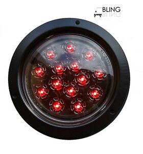 1 Red Round 5 Flush Mount Stop Turn Led Light Truck Trailer Clear Lens 14 Diode