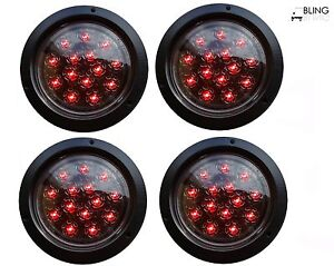 4 Red Round 5 Flush Mount Stop Turn Led Light Truck Trailer Clear Lens 14 Diode