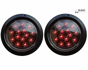 2 Red Round 5 Flush Mount Stop Turn Led Light Truck Trailer Clear Lens 14 Diode