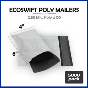 5000 4x6 White Poly Mailers Shipping Envelopes Self Sealing Bags 2 35 Mil 4 X 6