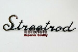 Universal Chromed Trim Emblem Script Streetrod Logo Street Hot Rat Rod Decal