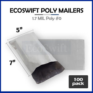 100 5x7 White Poly Mailers Shipping Envelopes Self Sealing Bags 1 7 Mil 5 X 7