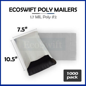 1000 7 5 X 10 5 White Poly Mailers Shipping Envelopes Self Sealing Bags 1 7 Mil