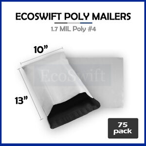 75 10x13 White Poly Mailers Shipping Envelopes Self Sealing Bags 1 7 Mil 10 X 13