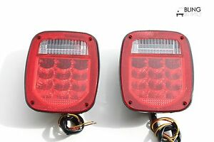 2 Led Universal Stud mount Combination Tail Light Truck Trailer License On Left
