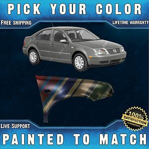 New Painted To Match Passengers Rh Front Fender For 1999 2005 Volkswagen Jetta
