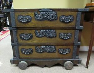 Antique Japanese Wheeled Chest With Dragon Hardware Tansu Meiji Period