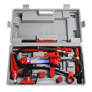 4 Ton Porta Power Hydraulic Jack Body Frame Repair Kit Auto Shop Tool Heavy Set