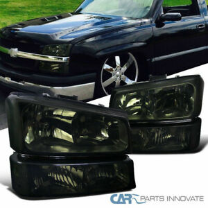 03 07 Chevy Silverado Avalanche Smoke Headlights signal Lamps Bumper Lights Pair