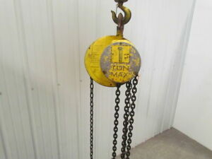 Cm Columbus Mckinnon 1 Ton Manual Chain Fall Hoist 7 Lift 2000 Lb Capacity