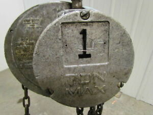 Cm Columbus Mckinnon S 1 Ton Manual Chain Fall Hoist 13 Lift 2000 Lb Capacity