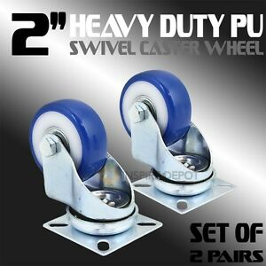 4pc 2 Pu Swivel Heavy Duty Caster Wheels Rubber Furniture Ball Bearing Steel Hd