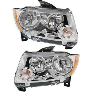 Headlight Set For 2011 2012 2013 Jeep Grand Cherokee Left And Right 2pc