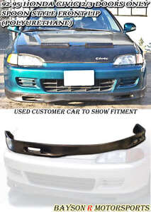 Spn Style Front Lip Urethane Fits 92 95 Honda Civic 2 3dr Coupe Hatch