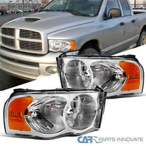 For 02 05 Dodge Ram 1500 2500 3500 Pickup Clear Headlights Head Lamps Left Right