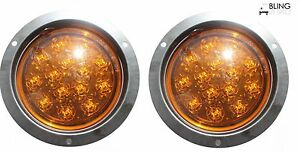 Pair Round Amber 5 Led Flush Mount Turn Signal Parking Light Truck Trailer