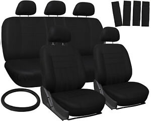 Car Seat Covers For Toyota Camry Solid Black W Steering Wheel Belt Pad Head Rest