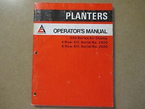 Allis Chalmers 330 Air Champ Planter Owners Maintence Manual 4r 6r
