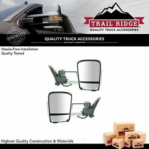 Trail Ridge Tow Mirror Manual Smoked Led Signal Chrome Pair For Chevy Gmc