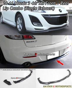 Ms Style Front Lip Ms Style Rear Lip Single Exhaust Fits 10 11 Mazda 3 4dr