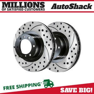 Front Set Drilled And Slotted Brake Rotors Pair 2 For 05 17 Toyota Tacoma 6 Stud
