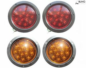 5 Truck Trailer 2 Amber 2 Red Stop Turn Tail Flush Mount Bright Led Light