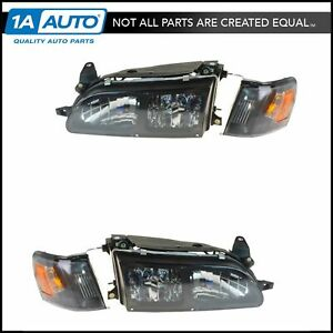 Headlights Corner Lights Performance Euro Crystal Style Pair For 93 97 Corolla