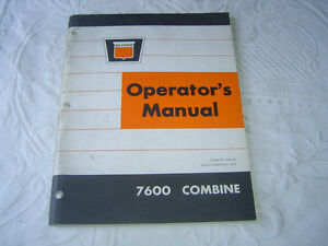 Oliver 7600 Combine Operator s Manual With The Old Oliver Sign Logo Original