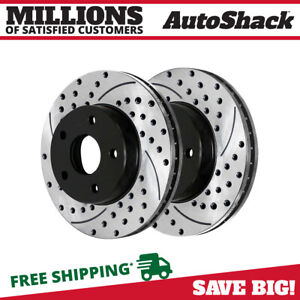 Front Pair 2 Drilled Slotted Brake Rotors 5 Stud Fits 1998 2004 Chevrolet S10