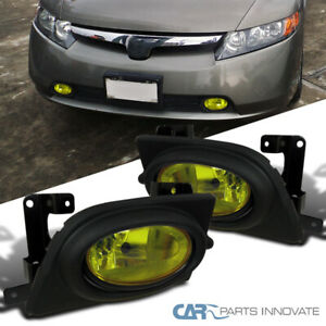 Fit 06 08 Honda Civic 4dr Sedan Front Bumper Yellow Lens Fog Lights Kit Switch