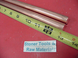 2 Pieces 1 2 C110 Copper Round Rod 13 Long H04 Solid Cu New Lathe Bar Stock