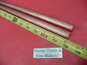 2 Pieces 1 2 C110 Copper Round Rod 18 Long H04 Solid Cu New Lathe Bar Stock