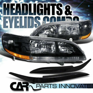 For 1998 2002 Honda Accord 2 4dr Black Crystal Headlights abs Eyelids