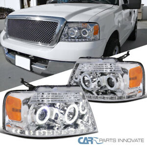 04 08 Ford F150 Pickup Clear Halo Led Strip Projector Headlights Head Lamps Pair