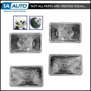 Rectangle Sealed Beam High Low Beam Multifit Headlights 4 Piece Set Kit