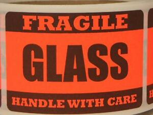 Fragile Glass Handle With Care 2x3 Fluorescent Red Stickers Labels 250 rl