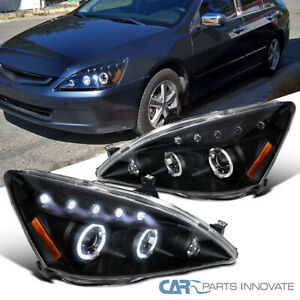 For 03 07 Honda Accord 2 4dr Black Led Halo Projector Headlights Lamp Left Right