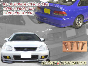 Tr Style Front Lip Si Optional Style Rear Lip Urethane Fits 99 00 Civic 2dr