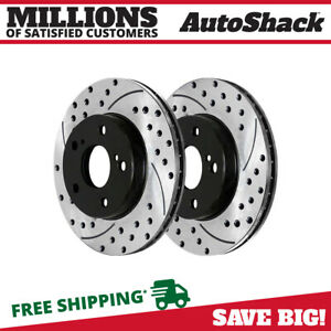 Front Drilled Slotted Brake Rotors Pair 2 For 06 15 16 2017 Toyota Rav4 980470