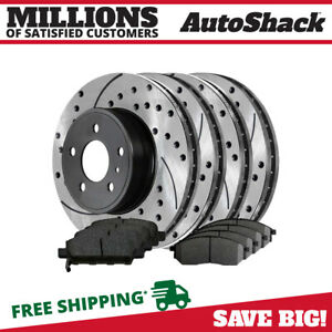 Front Rear 4 Drilled Slotted Rotors 8 Ceramic Pad For 2005 2007 Infiniti G35