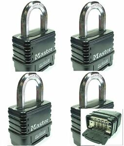 Combination Lock Set By Master 1178d lot 4 Resettable Weather Sealed Carbide