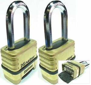 Combination Lock Set Master 1175lh lot 2 Resettable Long Brass Sealed Carbide