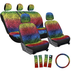 17pc Set Rainbow Zebra Tiger Red Blue Green Yellow Complete Auto Suv Seat Covers