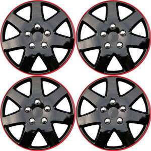 4pc 15 Inches Ice Black Red Hub Cap Full Lug Skin Rim Cover For Oem Steel Wheel